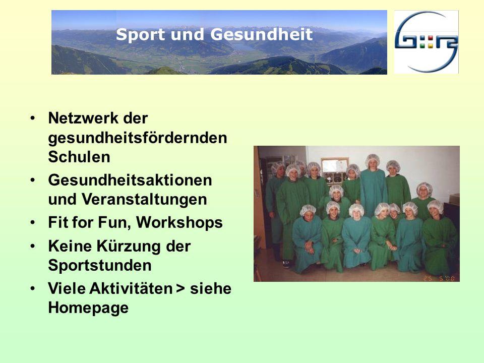 Sport und Gesundheit Netzwerk der gesundheitsfördernden Schulen. Gesundheitsaktionen und Veranstaltungen.