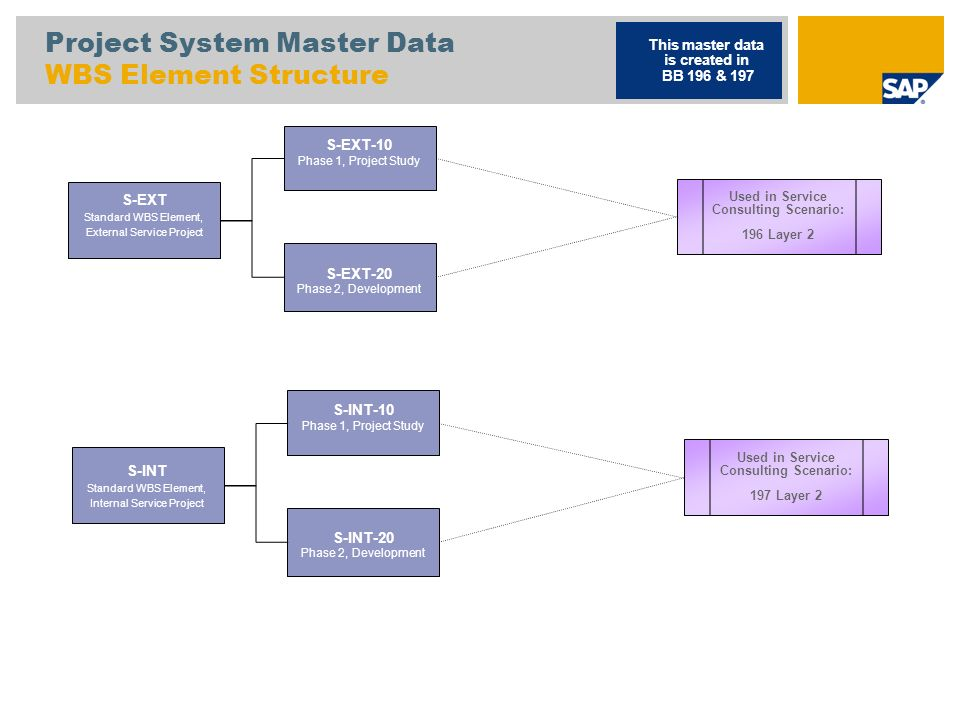 Project System Master Data WBS Element Structure