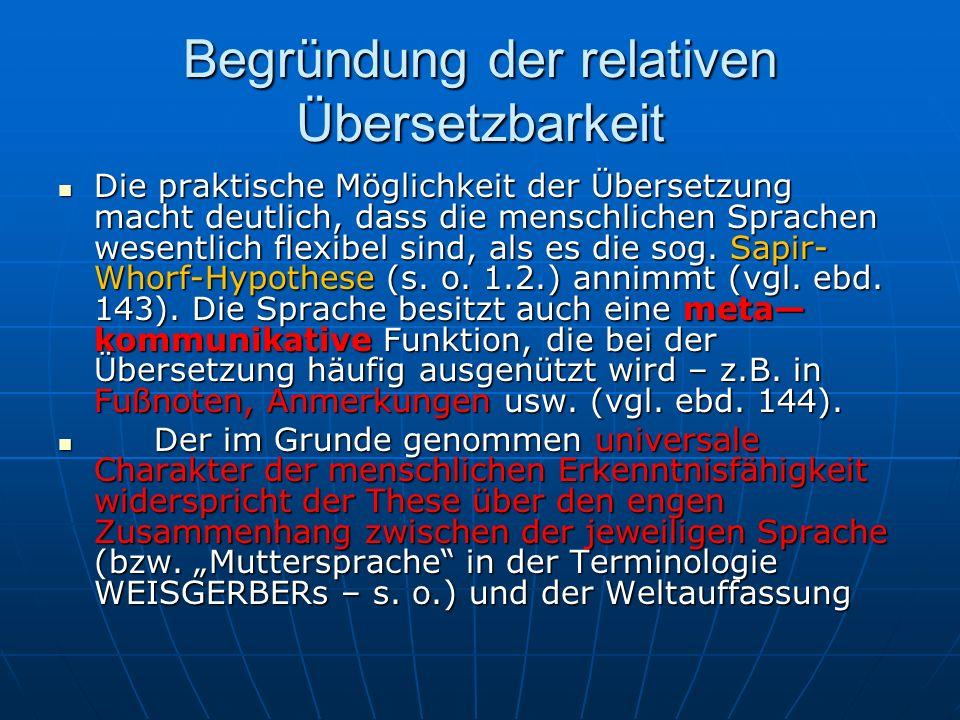 Begründung der relativen Übersetzbarkeit