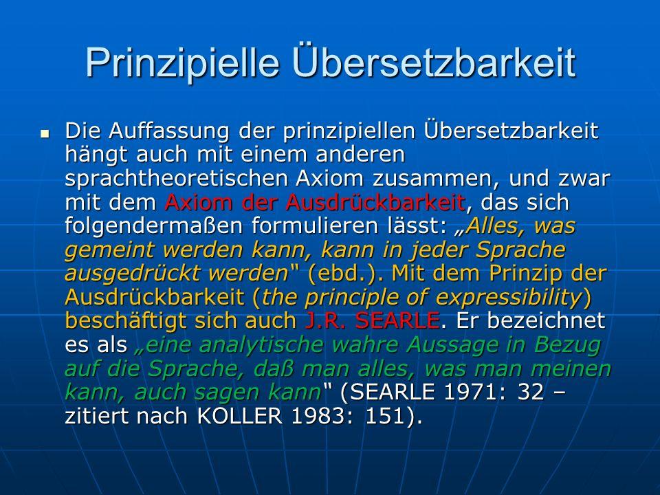 Prinzipielle Übersetzbarkeit