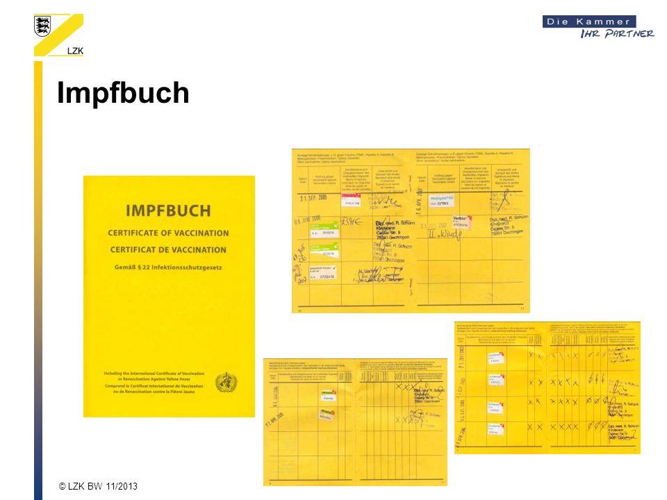 Impfbuch © LZK BW 11/2013