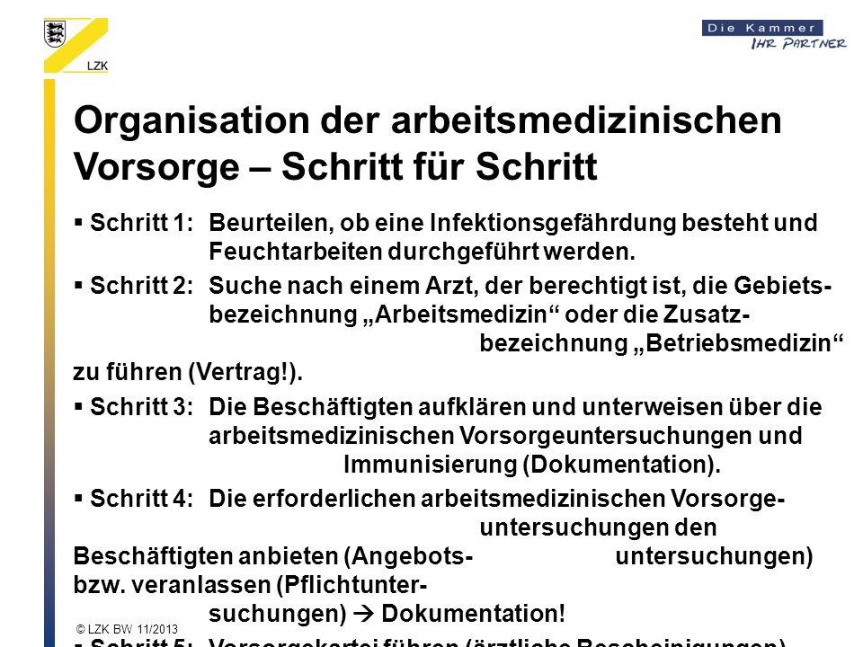 Organisation der arbeitsmedizinischen Vorsorge – Schritt für Schritt