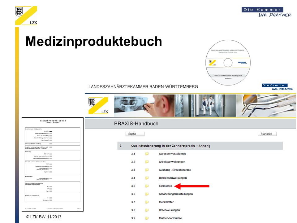 Medizinproduktebuch © LZK BW 11/2013