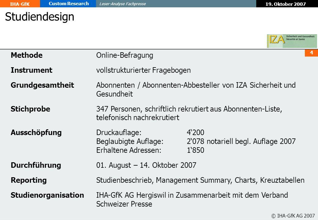 Studiendesign Methode Online-Befragung