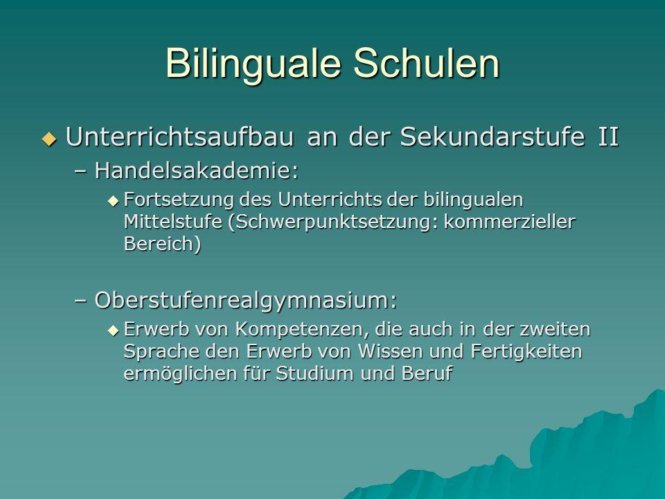Bilinguale Schulen Unterrichtsaufbau an der Sekundarstufe II