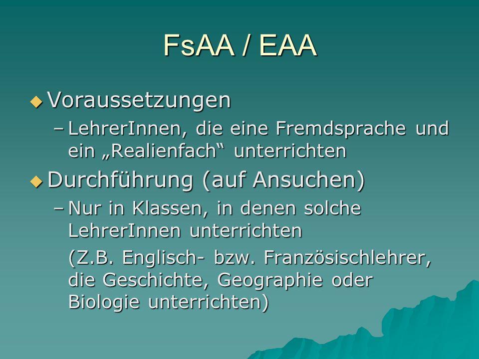 FsAA / EAA Voraussetzungen Durchführung (auf Ansuchen)
