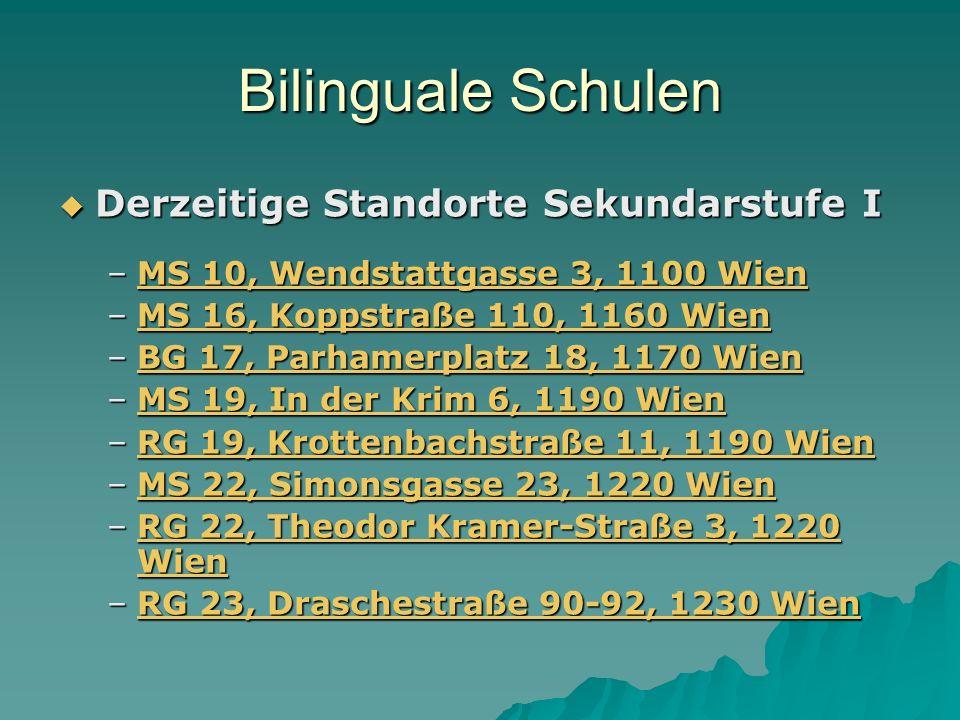 Bilinguale Schulen Derzeitige Standorte Sekundarstufe I