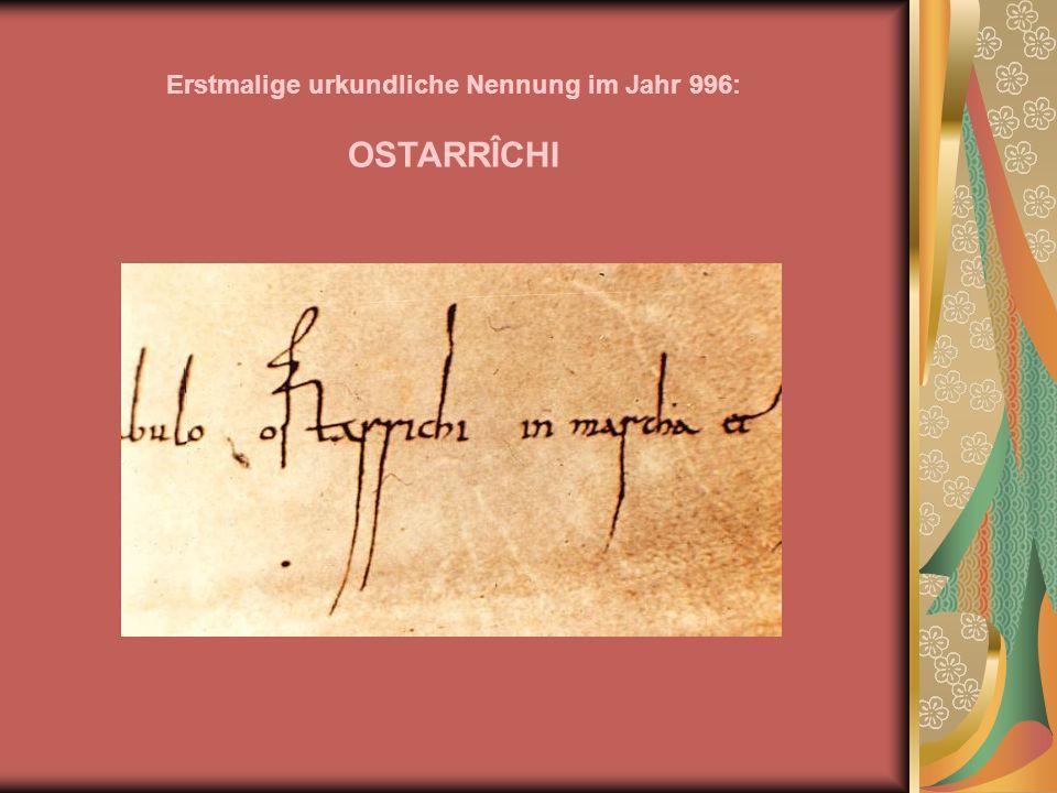 Erstmalige urkundliche Nennung im Jahr 996: