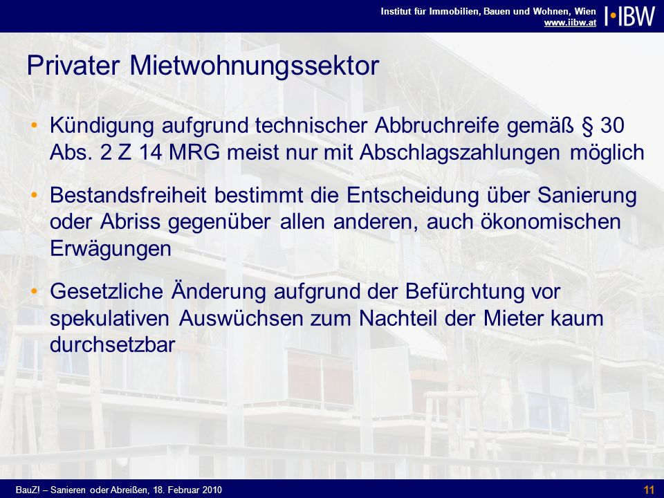 Privater Mietwohnungssektor