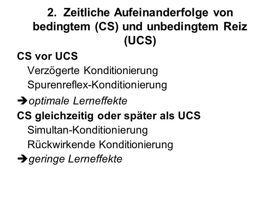 2. Zeitliche Aufeinanderfolge von bedingtem (CS) und unbedingtem Reiz (UCS)