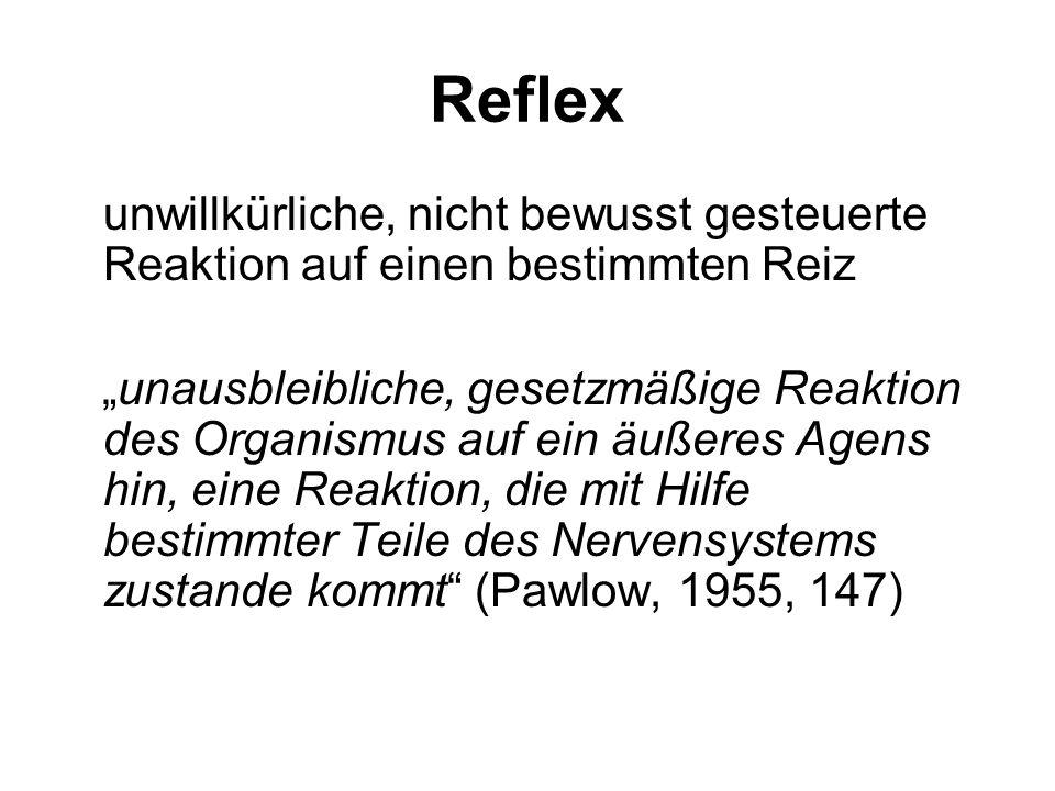 Reflex unwillkürliche, nicht bewusst gesteuerte Reaktion auf einen bestimmten Reiz.