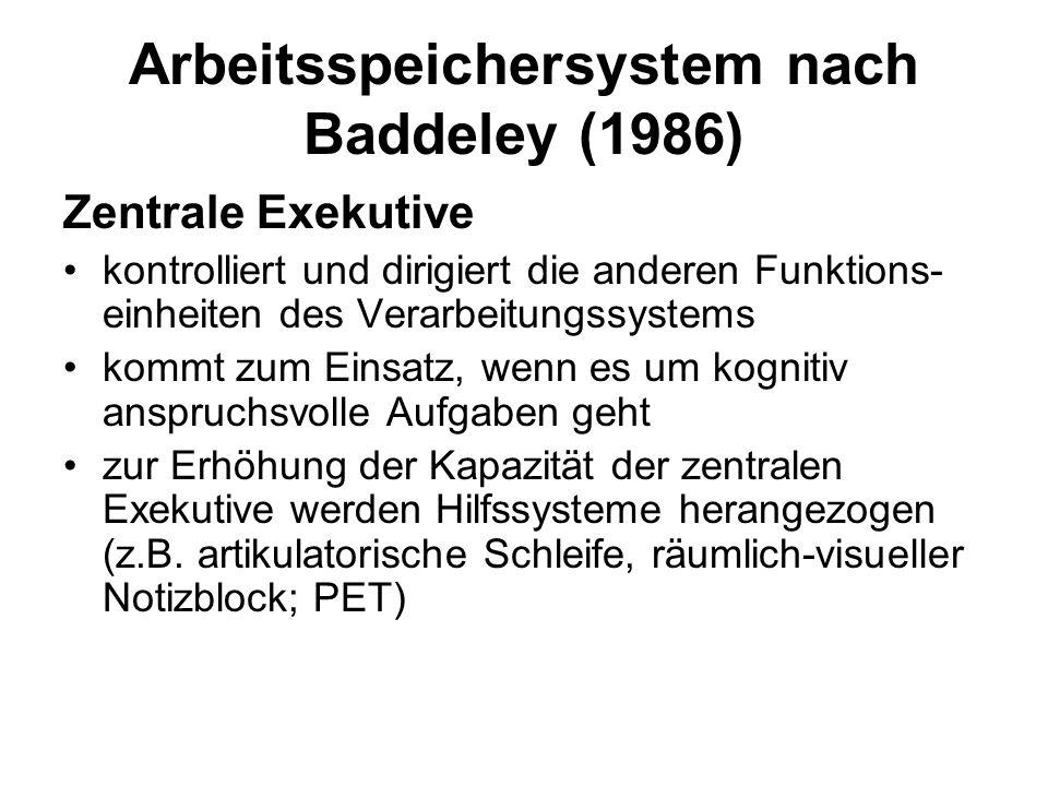 Arbeitsspeichersystem nach Baddeley (1986)