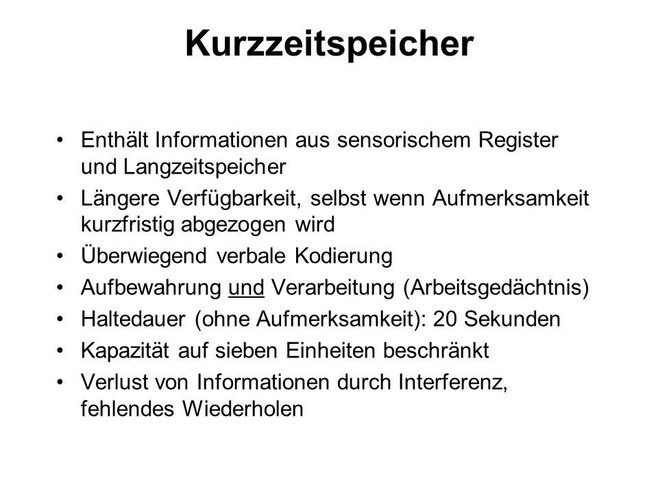 Kurzzeitspeicher Enthält Informationen aus sensorischem Register und Langzeitspeicher.