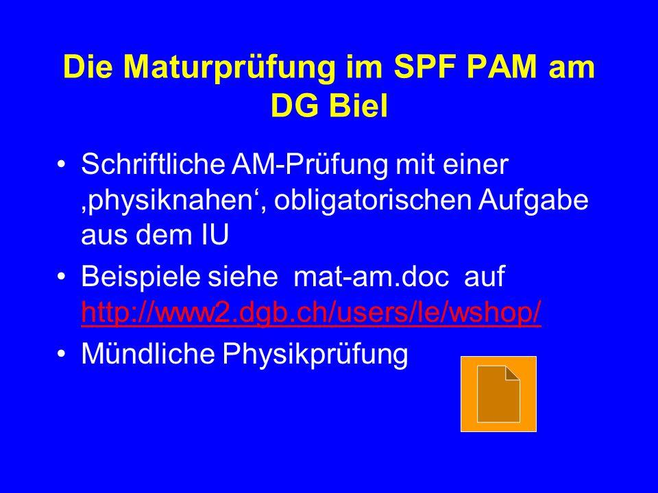 Die Maturprüfung im SPF PAM am DG Biel