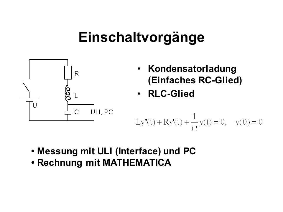 Einschaltvorgänge Kondensatorladung (Einfaches RC-Glied) RLC-Glied