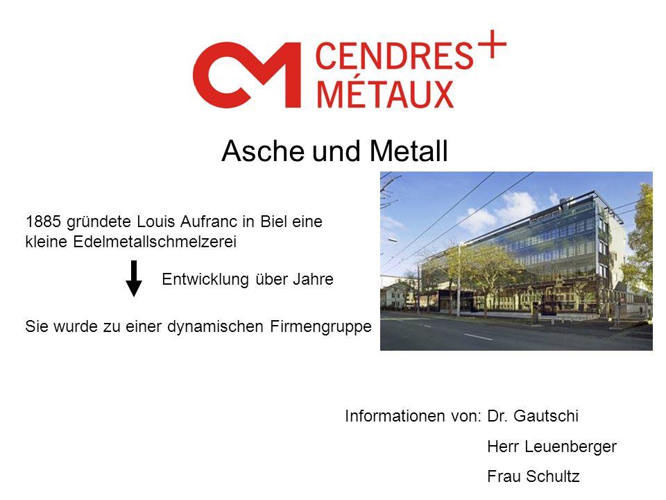 Asche und Metall 1885 gründete Louis Aufranc in Biel eine kleine Edelmetallschmelzerei. Entwicklung über Jahre.