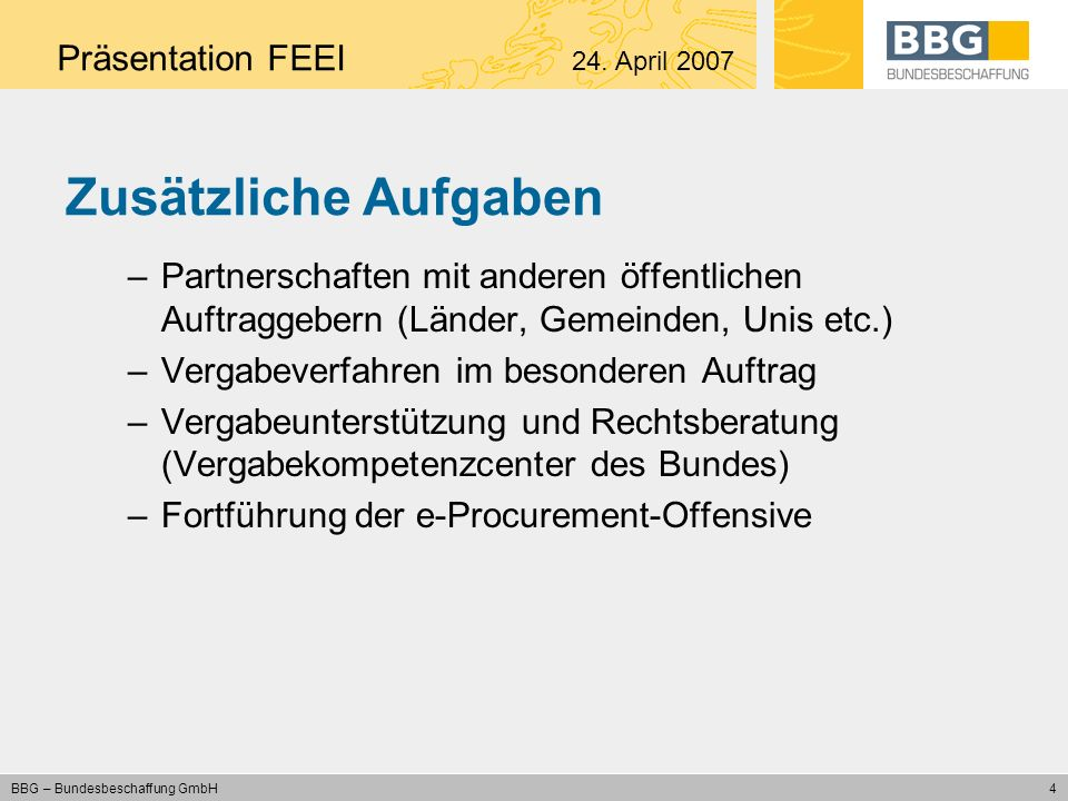 Zusätzliche Aufgaben Präsentation FEEI 24. April 2007