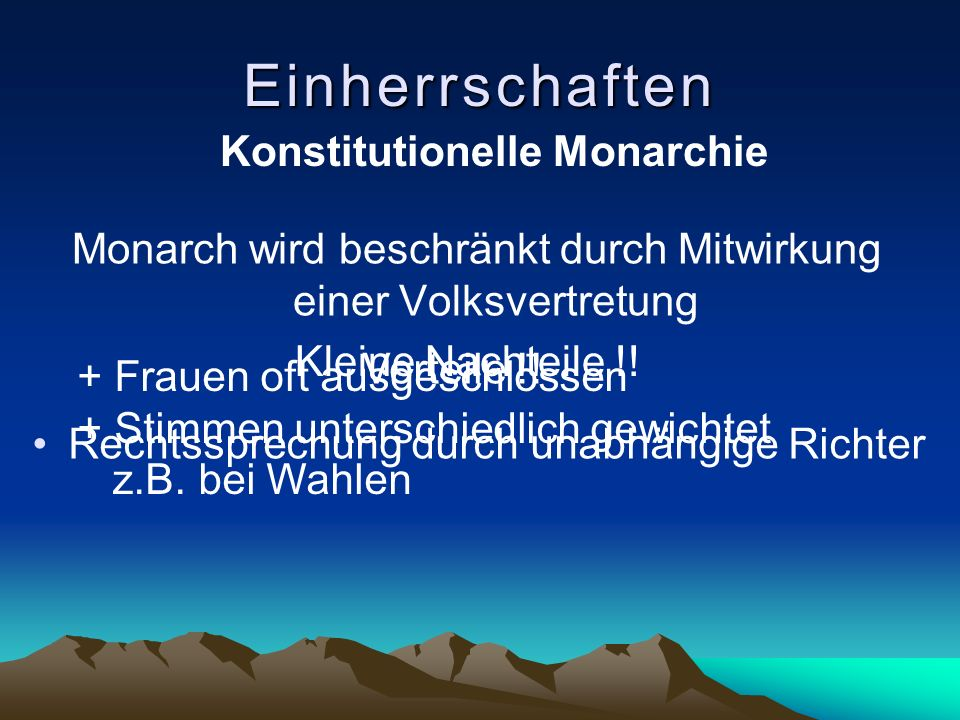 Monarch wird beschränkt durch Mitwirkung einer Volksvertretung