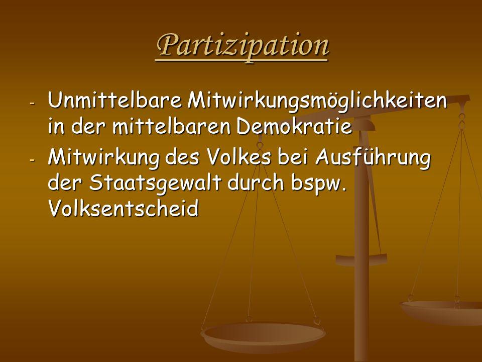 Partizipation Unmittelbare Mitwirkungsmöglichkeiten in der mittelbaren Demokratie.