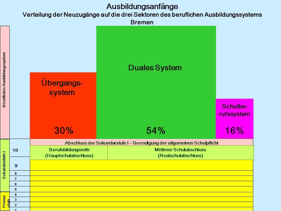 30% 54% 16% Ausbildungsanfänge Duales System Übergangs-system