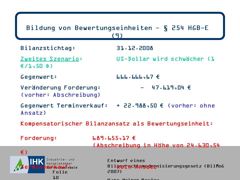 Bildung von Bewertungseinheiten - § 254 HGB-E (9)