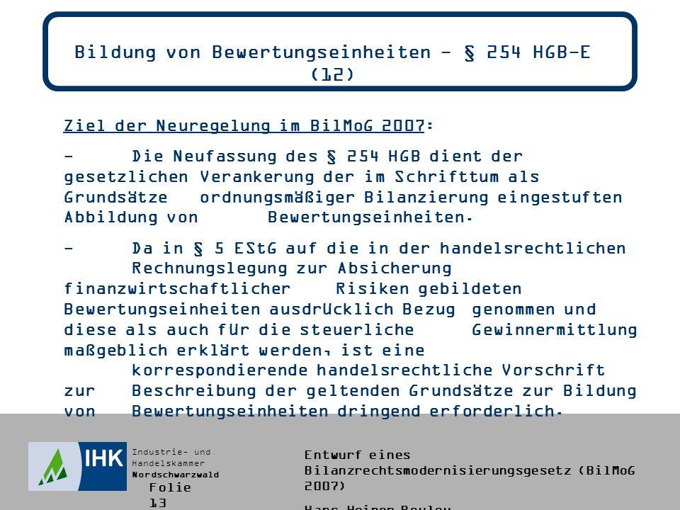 Bildung von Bewertungseinheiten - § 254 HGB-E (12)