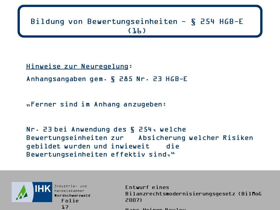 Bildung von Bewertungseinheiten - § 254 HGB-E (16)