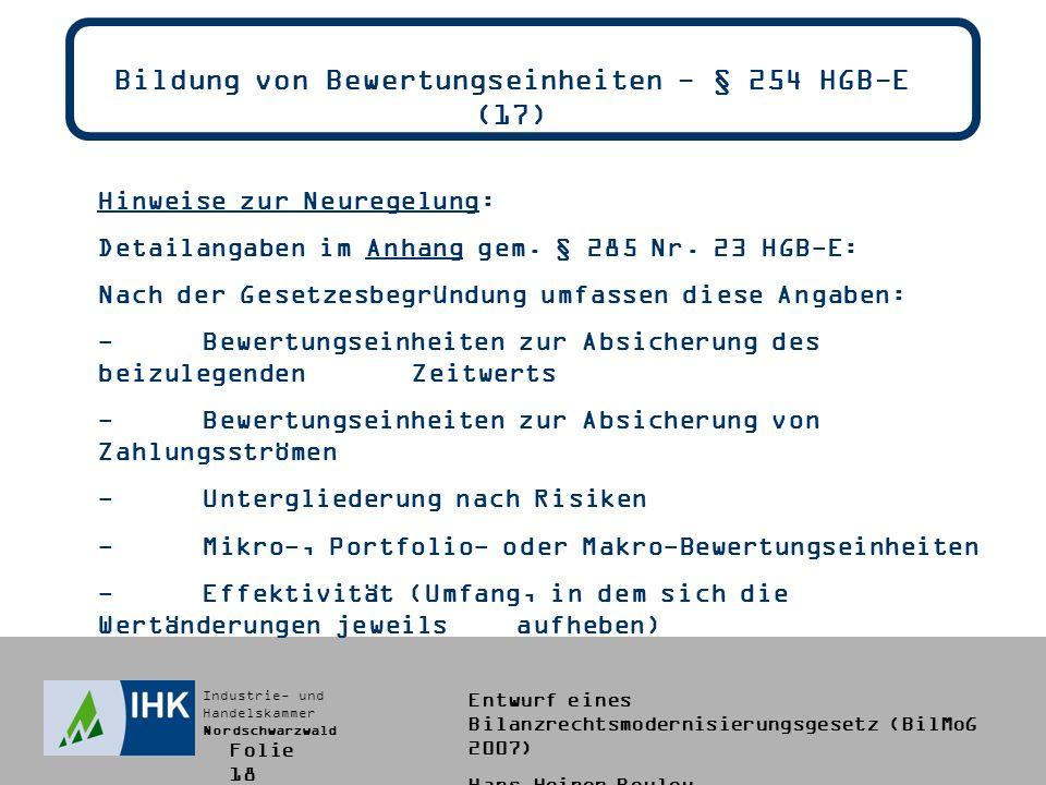 Bildung von Bewertungseinheiten - § 254 HGB-E (17)