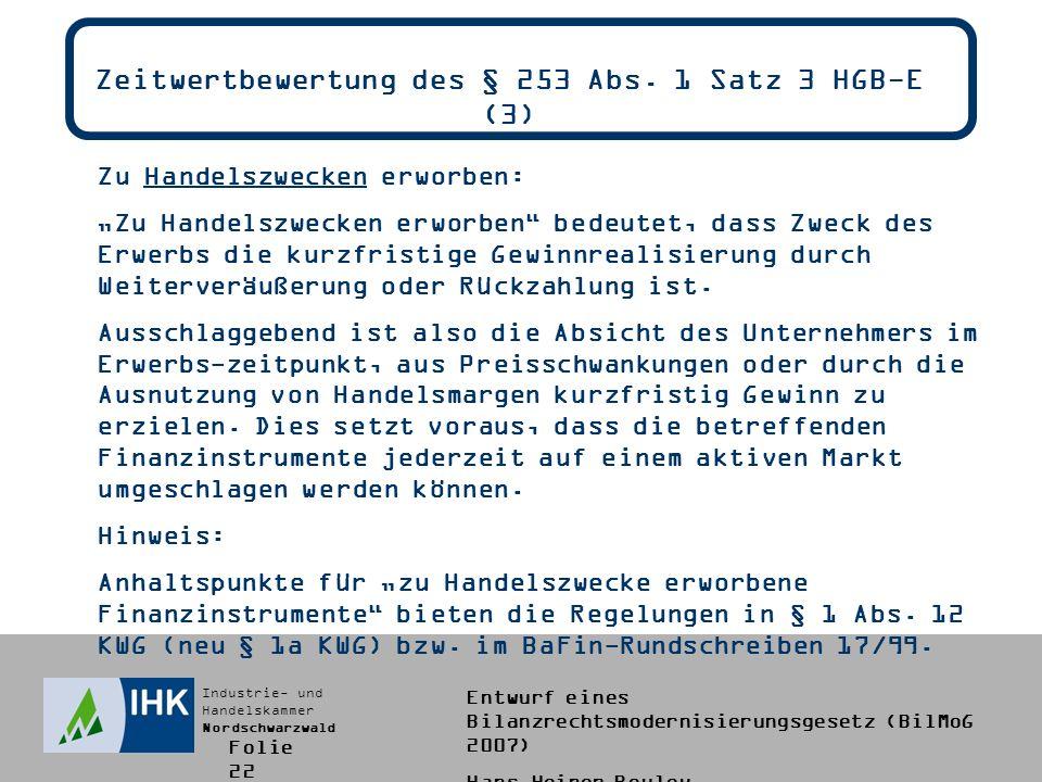 Zeitwertbewertung des § 253 Abs. 1 Satz 3 HGB-E (3)