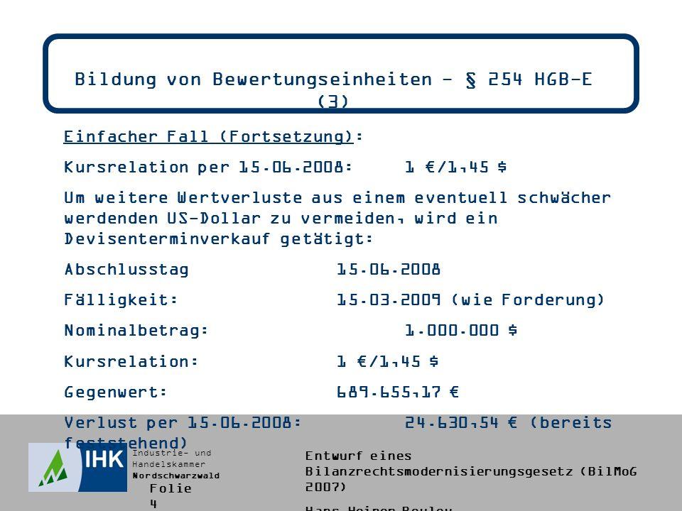 Bildung von Bewertungseinheiten - § 254 HGB-E (3)
