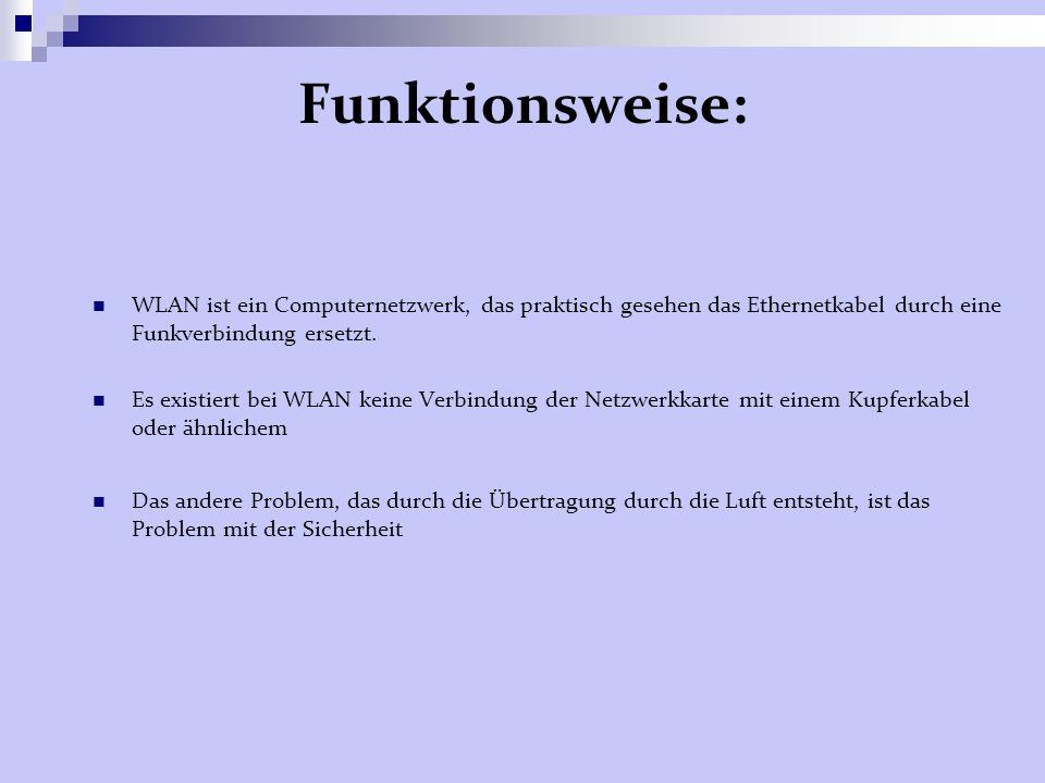 Funktionsweise: WLAN ist ein Computernetzwerk, das praktisch gesehen das Ethernetkabel durch eine Funkverbindung ersetzt.