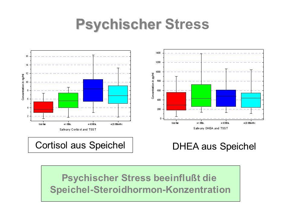 Psychischer Stress beeinflußt die Speichel-Steroidhormon-Konzentration