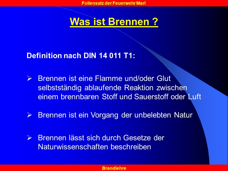 Was ist Brennen Definition nach DIN 14 011 T1: