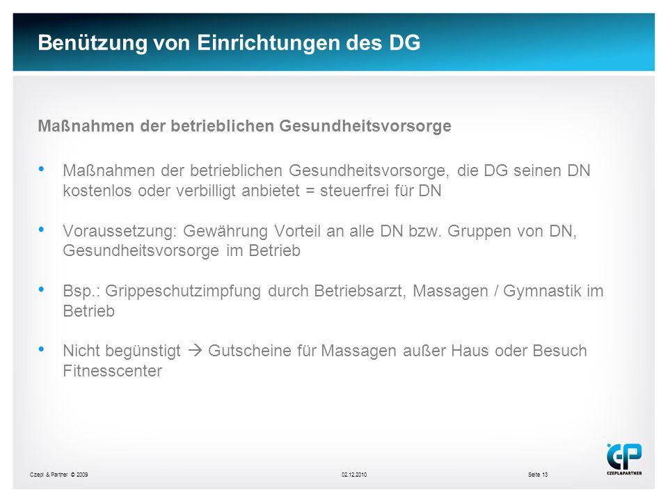 Benützung von Einrichtungen des DG