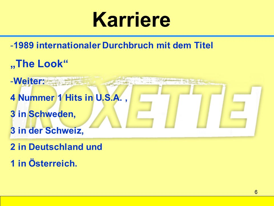 "Karriere ""The Look 1989 internationaler Durchbruch mit dem Titel"