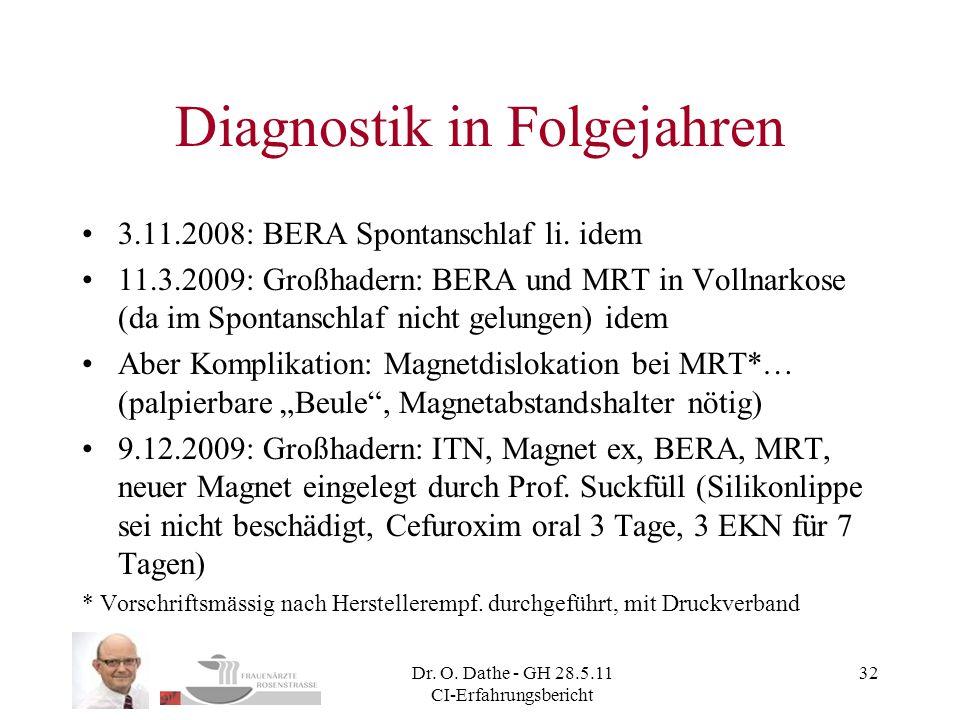 Diagnostik in Folgejahren