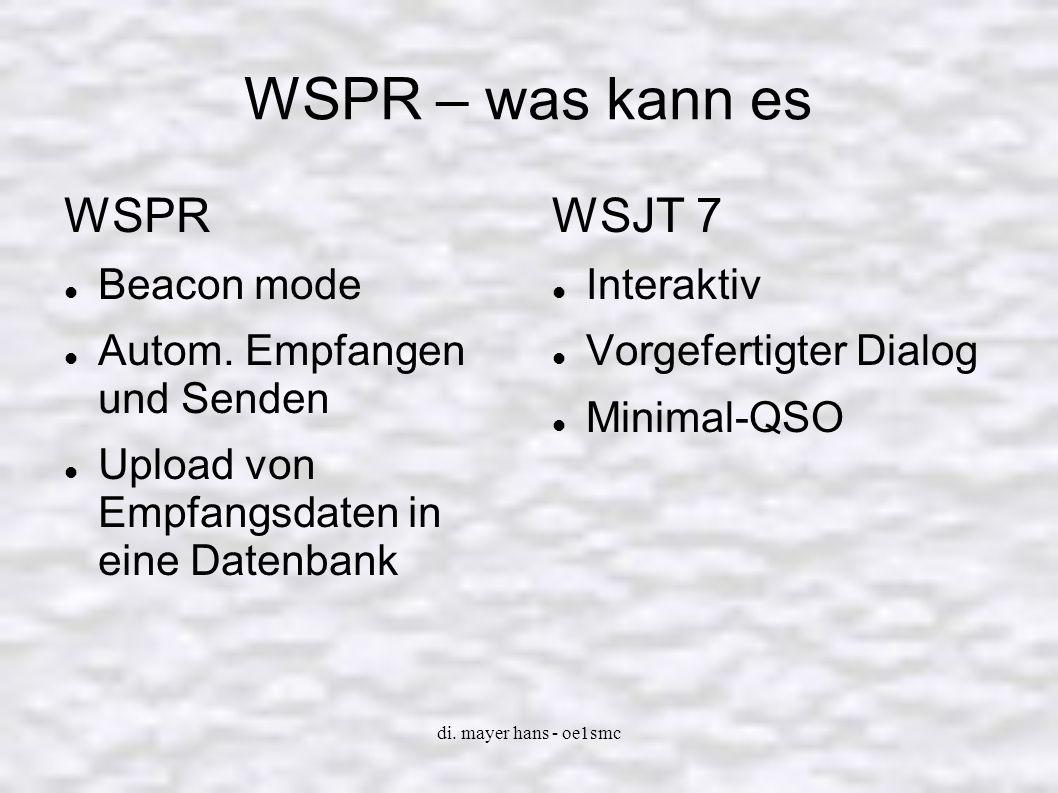 WSPR – was kann es WSPR WSJT 7 Beacon mode Autom. Empfangen und Senden