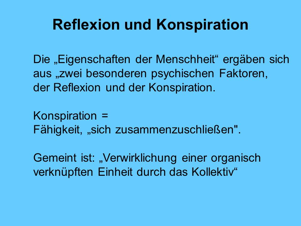 Reflexion und Konspiration