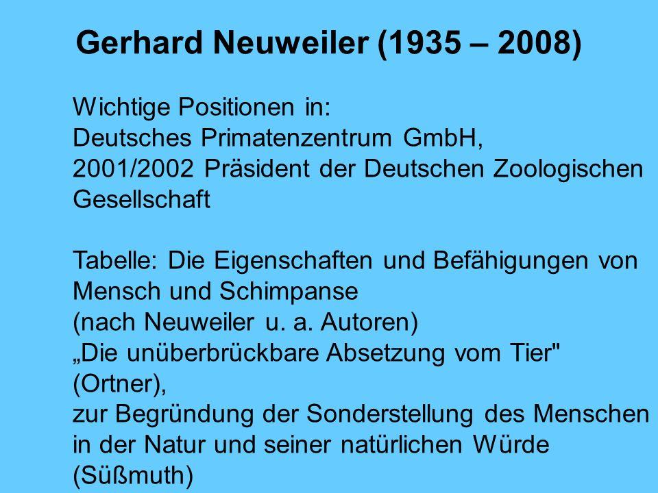 Gerhard Neuweiler (1935 – 2008) Wichtige Positionen in: