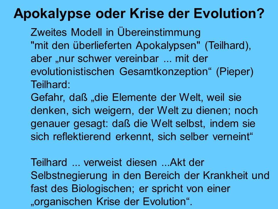 Apokalypse oder Krise der Evolution