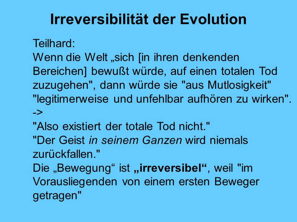 Irreversibilität der Evolution