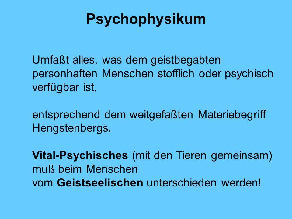 Psychophysikum Umfaßt alles, was dem geistbegabten personhaften Menschen stofflich oder psychisch verfügbar ist,