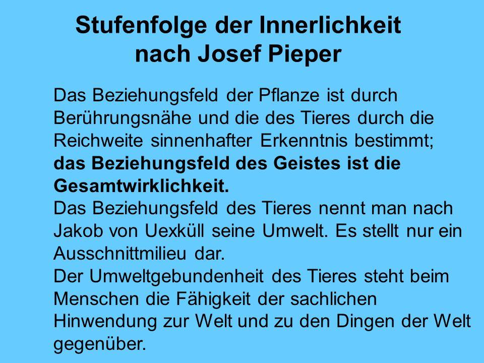 Stufenfolge der Innerlichkeit nach Josef Pieper