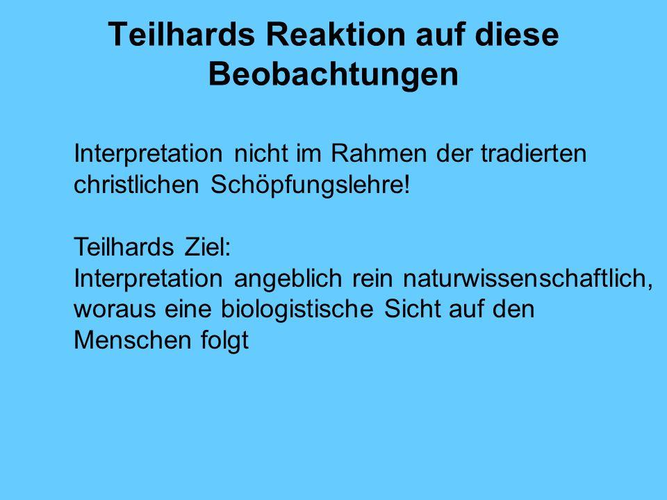 Teilhards Reaktion auf diese Beobachtungen