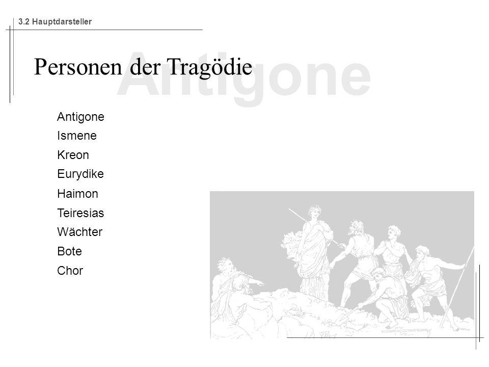 Antigone Personen der Tragödie Antigone Ismene Kreon Eurydike Haimon