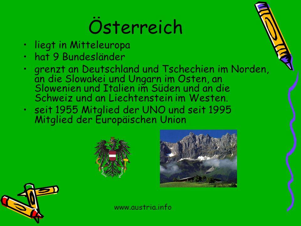 Österreich liegt in Mitteleuropa hat 9 Bundesländer