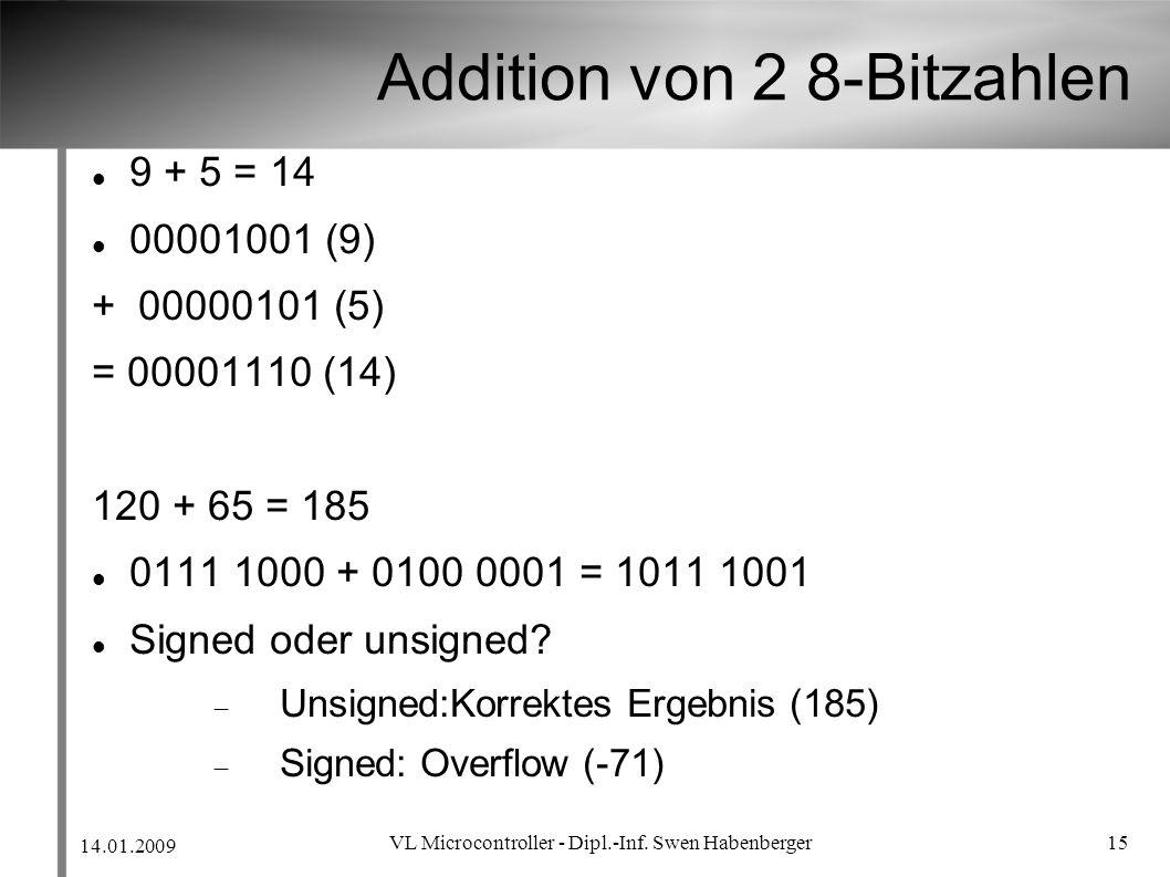 Addition von 2 8-Bitzahlen