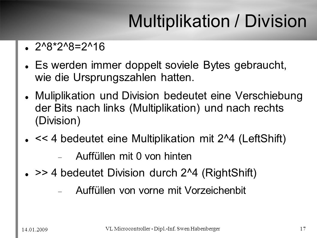 Multiplikation / Division