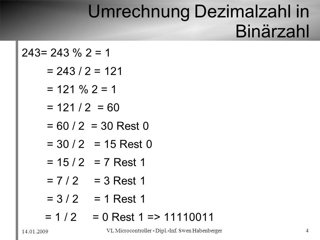 Umrechnung Dezimalzahl in Binärzahl
