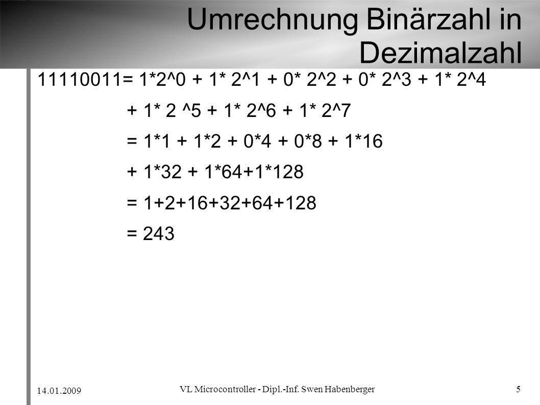 Umrechnung Binärzahl in Dezimalzahl